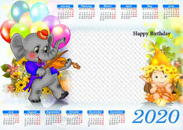 Photoshop Calendar Template 2020 Png Psd Calendar 2020 Happy Birthday Calendar For Photoshop