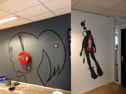 'Creative wall painting using fire extinguisher'. What a perfect, creative  idea. This would make fire extinguishers less missable and more noticeable,  ...