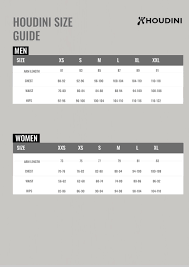 Houdini Size Guide Nordic Outdoor