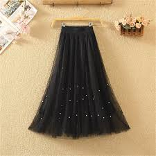 Elastic Waist Lace Flower Length Skirt <b>Summer Female</b> Pearl ...