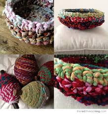 the red thread rag rope crochet baskets