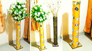 Big Flower Vase Design Big Size Diy Flower Vase Make At Home From Pvc Pipe Flower Vase From Pvc Pipe With Mirror Work