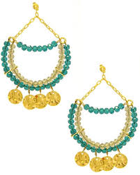 thinking in blue teal blue crystal chandelier earrings