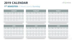 printable 6 month calendar 2019 2019 calendar powerpoint templates