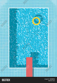 swimming pool logo design. Swimming Pool Top View With Inflatable Ring Preserver And Red Jump. 80s Style Vintage Graphic Logo Design