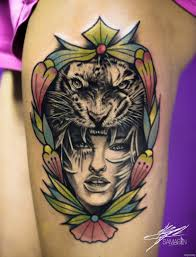девушка с тигром на голове тату на плече добавлено кирилл самарин