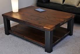cool dark brown square modern metal and wood rustic coffee table with storage in the paste