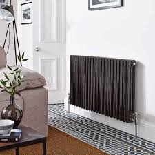 designer radiators for living rooms. ultra colosseum triple column horizontal designer radiator - black radiators for living rooms