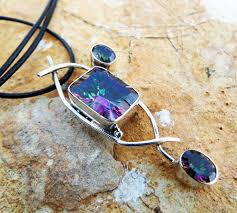 mystic topaz pendant silver necklace handmade gemstone sterling 925 protection stone gothic dark antique vintage jewelry
