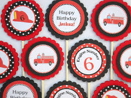 Firefighter Cupcake Decorations Fire Truck Cupcake Etsy
