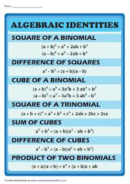 Formula Chart Algebra 2 Algebraic Identities Revision Chart Math Formulas Math