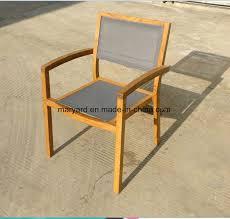 outdoor mesh fabric teak dining chair