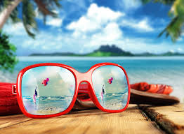 sunglasses photo frame added to make a beach photo card