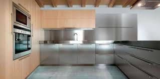 Stainless Steel Kitchen Contemporary Kitchen Stainless Steel Solid Wood Wooden 01