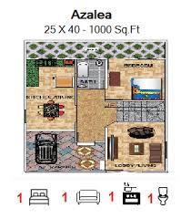 azalea floor plan for 25ft x 40ft feet plot 1000 sq ft ground