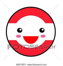Kawaii Austria Flag Smile Flat Style Cute Cartoon Isolated Fun Design Emoticon Face Vector Art Anime Illustration For Celebration Holiday