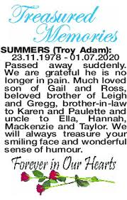 SUMMERS Troy | Obituaries | The West Announcements