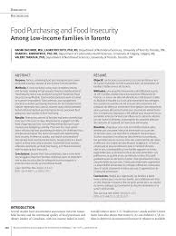 pdf food purchasing and food insecurity among low ine families in toronto