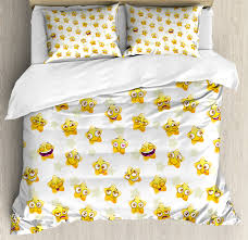 emoji queen size duvet cover set pattern with cartoon style yellow stars showing happiness and love decorative 3 piece bedding set with 2 pillow shams