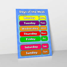 Week Days Chart Days Of The Week Learn Childrens Poster Wall Chart Classroom