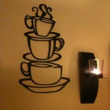 hot selling removable coffee house cup vinyl wall art metal mug wall sticker decals diy kitchen decor size 38 21cm 0649 in wall stickers from home garden  on coffee kitchen metal wall art with hot selling removable coffee house cup vinyl wall art metal mug wall