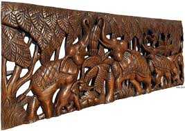 elephant family wood carved wall panel