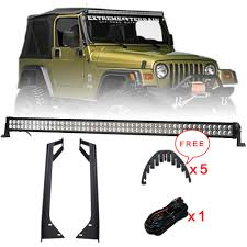 Jeep Tj 50 Light Bar Mount Us 159 98 20 Off Offroad 288w 50 Inch Led Light Bar Combo Beam Windshield Mounting Brackets Kit Wire Harness For Jeep Wrangler Yj 1987 1995 In