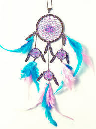 Colorful Dream Catcher Tumblr Blue and Pink feathers dream catcher by Pink Cena via Tumblr 21