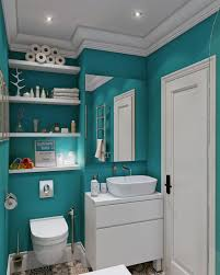 Small And Narrow Bathroom Spaces With Floating Shelves Over Toilet Beside  Vanity With Wall Mirror And Blue Wall Interior Color Decoration Ideas