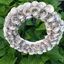 repurposed book page flower wreath