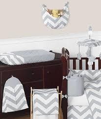 grey white chevron print crib bedding set