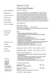 Construction Manager Resume Construction Manager Template Building