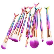 2017 deep colourful 10pcs rainbow makeup brush set private label mermaid shape makeup brushes tools