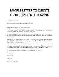 sle letter to clients about employee