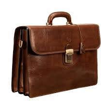 luxury tan leather briefcase bag for men