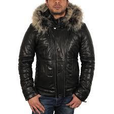mens black leather puffer jacket thunder