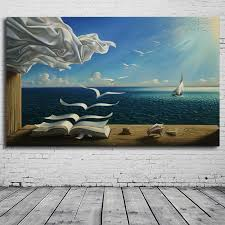 the waves book sailboat for salvador dali art poster picture print on canvas oil painting diary of discovery by vladimir kush in painting calligraphy