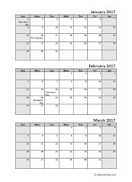 Quarterly Calendar Printable 3 Month Calendar Template 2016