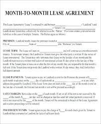 Month To Month Rental Agreement Template Roommate Month To Rental Agreement Sample Form Template