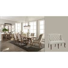 ashleigh natural brown wood 9 piece dining set with cream colored chairs