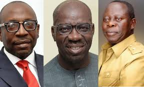 Image result for oshiomhole dances with Obaseki