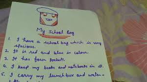 write some lines on my school bag in easy sentences write some lines on my school bag in easy sentences