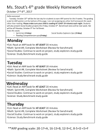 Weekly Homework Ms Stouts 4th Grade Weekly Homework October 2nd 6th Ppt