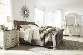 ashley furniture cassimore upholstered bedroom set in pearl silver