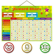 Interactive Chore Chart Magnetic Reward Behavior Star Chore Chart For Kids 8 Markers 60 Chores 300 Stars