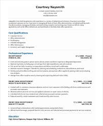 Front Office Receptionist Resume