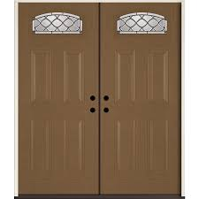 reliabilt sheldon 1 4 lite decorative glass right hand inswing woodhaven stained fiberglass prehung double entry door with insulating core common 72 in x