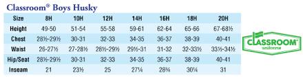 Boys Husky Size Chart 55 Rational Boys Husky Pants Size Chart