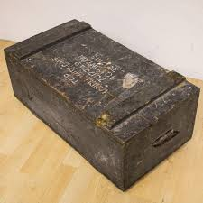 vintage army military chest wooden crate box trunk