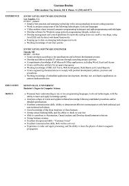 Entry Level Software Engineer Resume Samples Velvet Jobs Resume